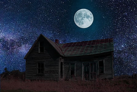 brown wooden house at nighttime