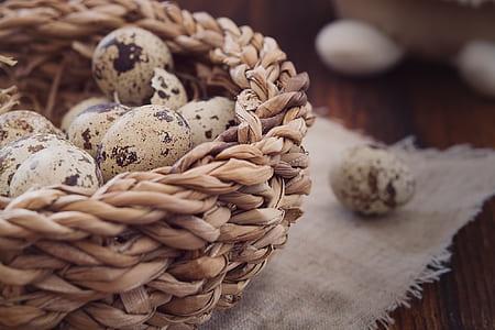quail eggs on basket