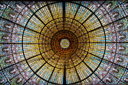 multicolored stained glass dome ceiling