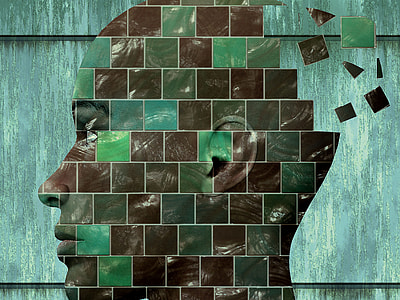 human head mosaic artwork