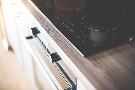 Modern Home Kitchen Glass Ceramic Cooker Close Up