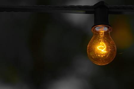 bokeh shot of orange bulb