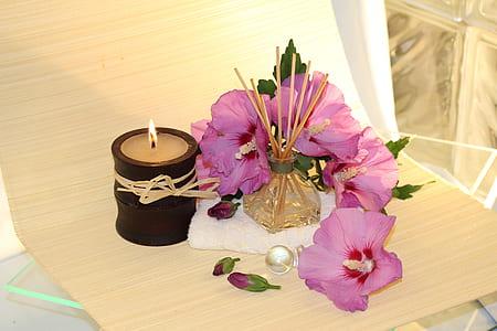 purple flower beside beige candle
