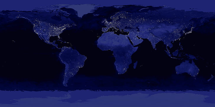world map at night with city lights