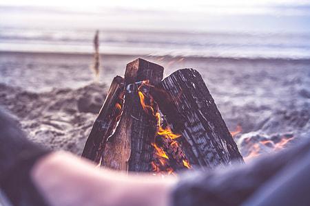 Beach Camping Fire Close Up