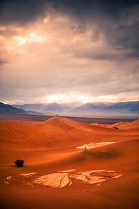 sand dunes under cloudy skies