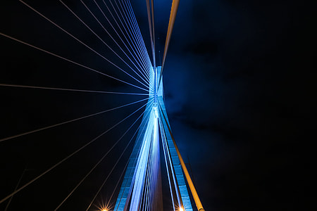 Abstract architecture details from a bridge at night