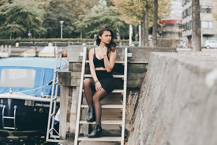 woman, female, ladder, steps, portrait