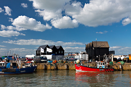 Classic English harbour. Image captured in Whitstable, Kent, England