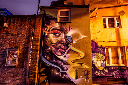 Urban street art captured by night