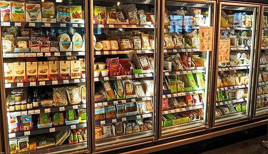 supermarket, fridge, produce, food, market, retail