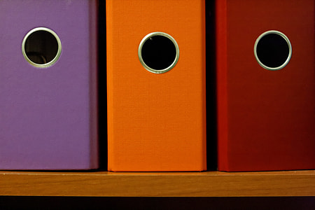 purple, orange, and red file organizers