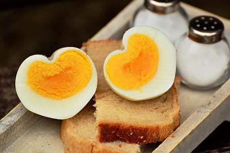 sliced boiled egg on bread loft