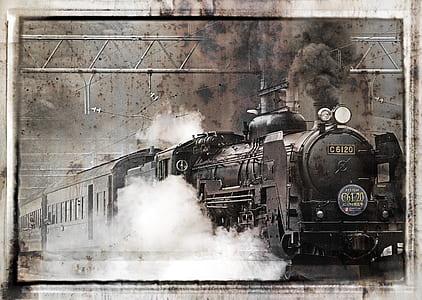 photo of black locomotive train