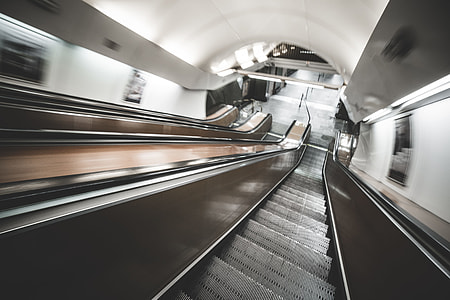 Underground Escalator in Motion