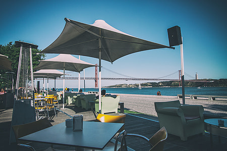 Shot of a coastal cafe and restaurant in Lisbon, Portugal, image captured with a Canon DSLR