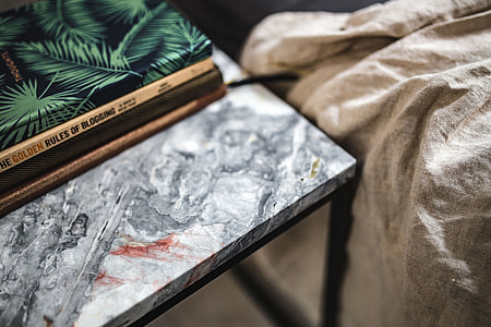 Notebooks on a marble table