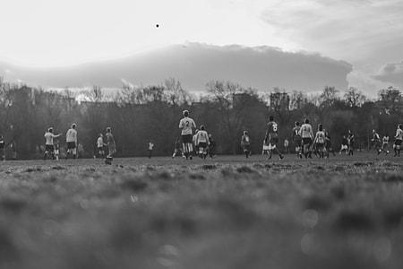 Playing Football Black White