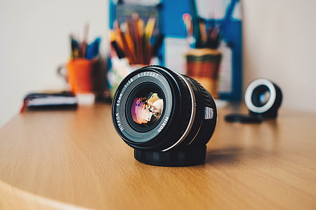 Camera lens on desk
