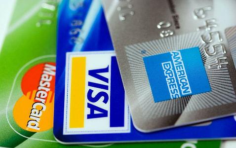 Visa card, American Express and MasterCard