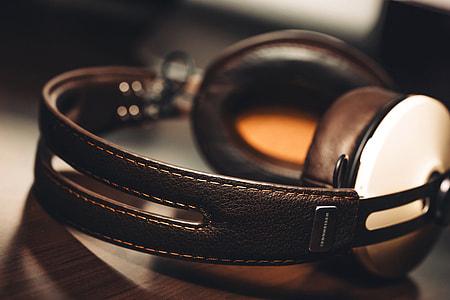 Music headphones on table