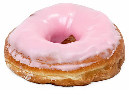 doughnut covered with pink icing