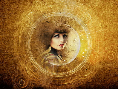 woman's face illustration on brown background