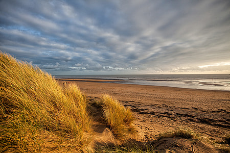 Landscape shot taken from the sand dunes at Camber Sands in East Sussex in the South of England