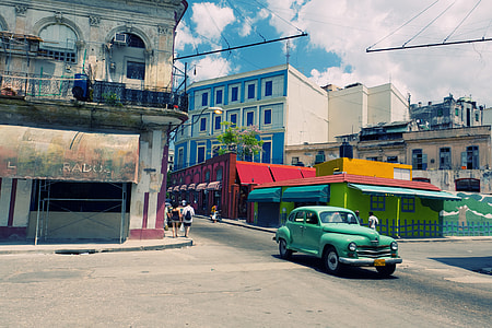 Wide-angle shot of a traffic crossroads in Havana, Cuba. Image captured with a Canon DSLR