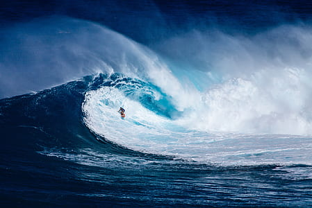person surfing on sea wave painting