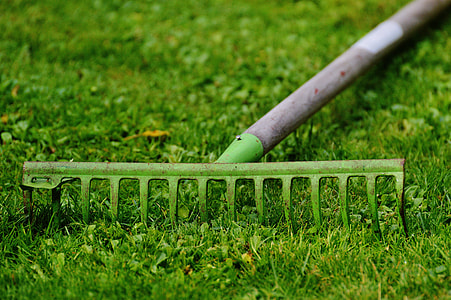 brown and green garden rake on green grass