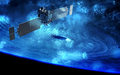 gray outer space satellite