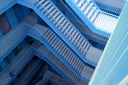 aerial view f blue and gray concrete stair