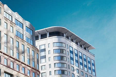 Modern city building architecture with blue sky
