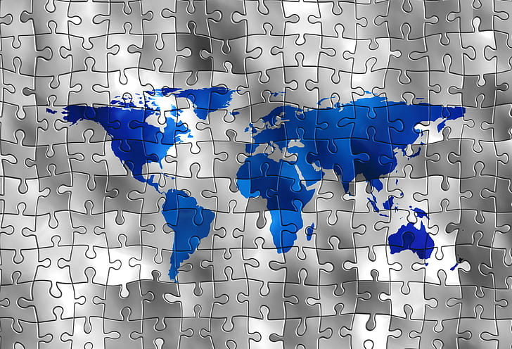 Royalty free photo blue and gray world map puzzle piece pickpik blue and gray world map puzzle piece gumiabroncs Images