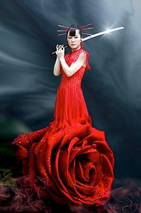 woman wearing red dress holding katana