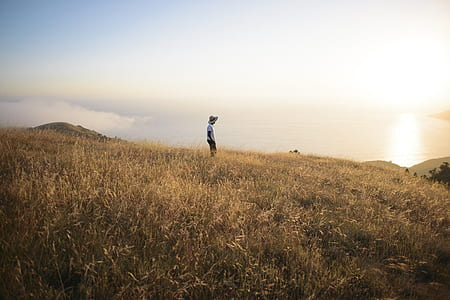 person standing on hilltop
