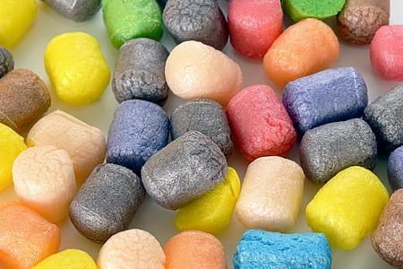 assorted-color foams