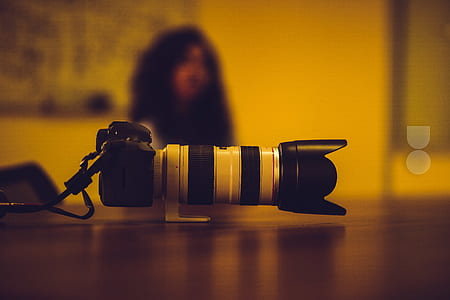 Black and White Dslr Camera Close Up Photography