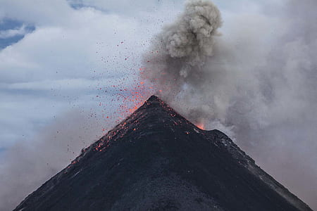 Eruption of Volcano during Dawn