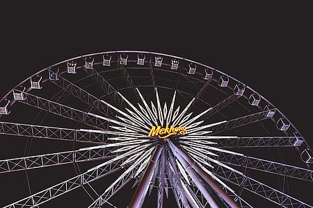 Ferris wheel at the fairground at night