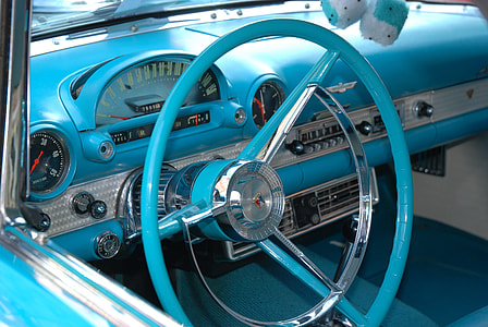 blue vehicle steering wheel