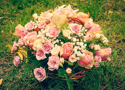 pink, white, and yellow flowers in vase