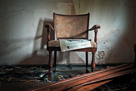 newspaper on chair