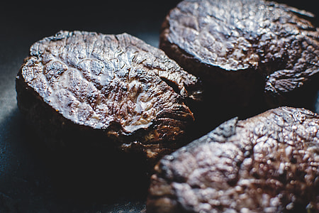 Beef steaks close up