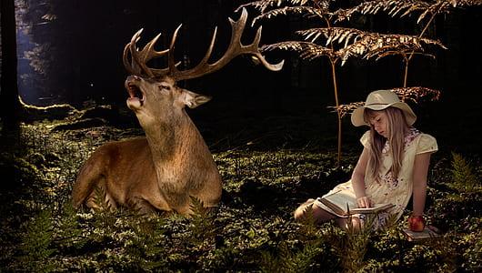 girl wearing hat sitting near plant beside buck