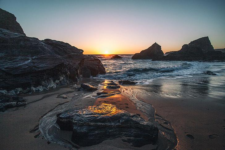 Seascape shot captured at sunset on the Coast of Cornwall, England
