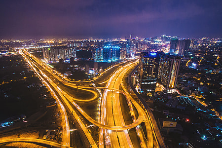 Roads, buildings and traffic in Ho Chi Minh City, Vietnam