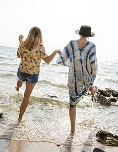 two women on seaside at daytime