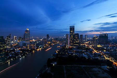 city skyline digital wallpaper